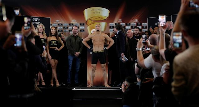 Boxing - George Groves & Chris Eubank Jr Weigh-In - Hilton Deansgate, Manchester, Britain - February 16, 2018 Chris Eubank Jr during his weigh in Action Images via Reuters/Lee Smith