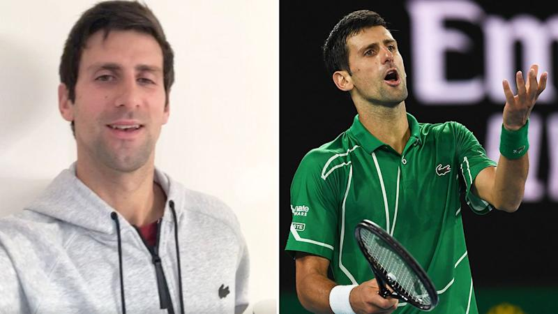Pictured here, Novak Djokovic posting an Instagram video and in action at the 2020 Australian Open.