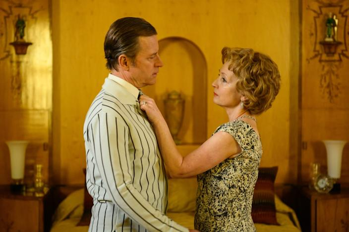 "Greg Kinnear and Lesley Manville as Bob and Dolores Hope in ""Misbehaviour."""