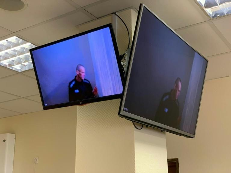 Navalny appeared in court via videolink