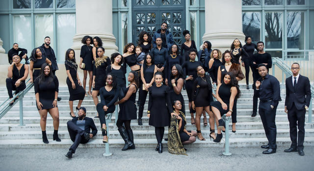 Members of the Harvard Black Law Students Association powerfully posing on school grounds. (Photo: Will Sterling)