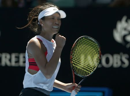 Tennis - Australian Open - Rod Laver Arena, Melbourne, Australia, January 18, 2018. Hsieh Su-Wei of Taiwan celebrates a point during her match against Garbine Muguruza of Spain. REUTERS/Thomas Peter