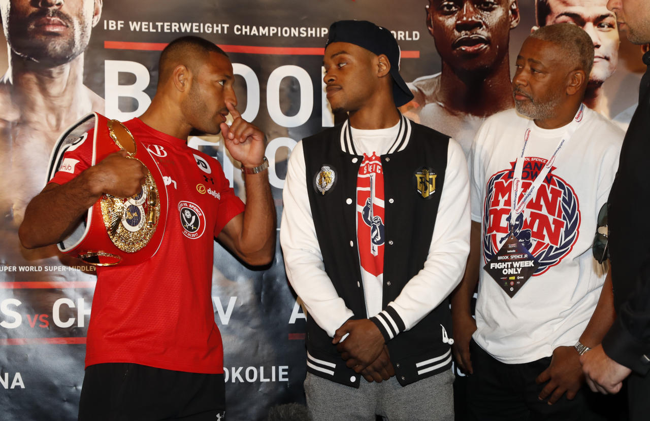 Britain Boxing - Kell Brook & Errol Spence Press Conference - Bramall Lane, Sheffield - 25/5/17 Kell Brook poses with Errol Spence during the press conference Action Images via Reuters / Carl Recine Livepic EDITORIAL USE ONLY.