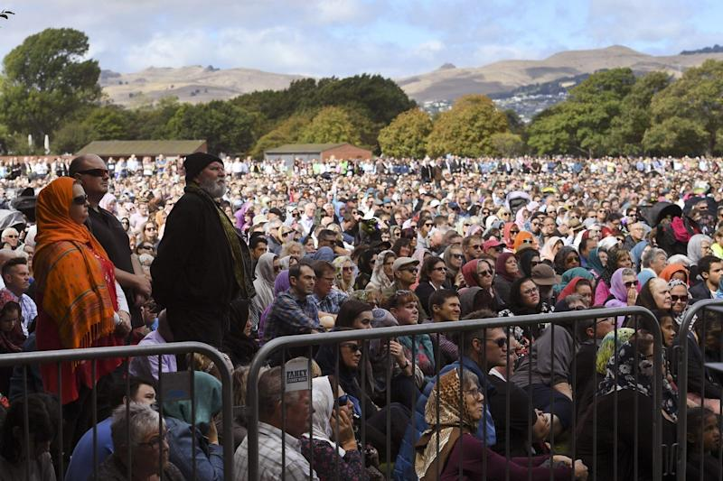 Two minutes of silence for victims of the twin mosque massacre at Hagley Park (AFP/Getty Images)