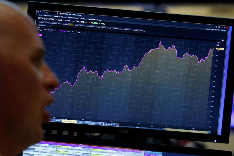 A trader looks at a screen that charts the S&P 500 on the floor in New York