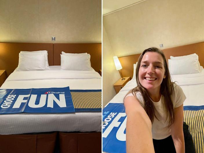 An image and selfie inside the cruise ship cabin.