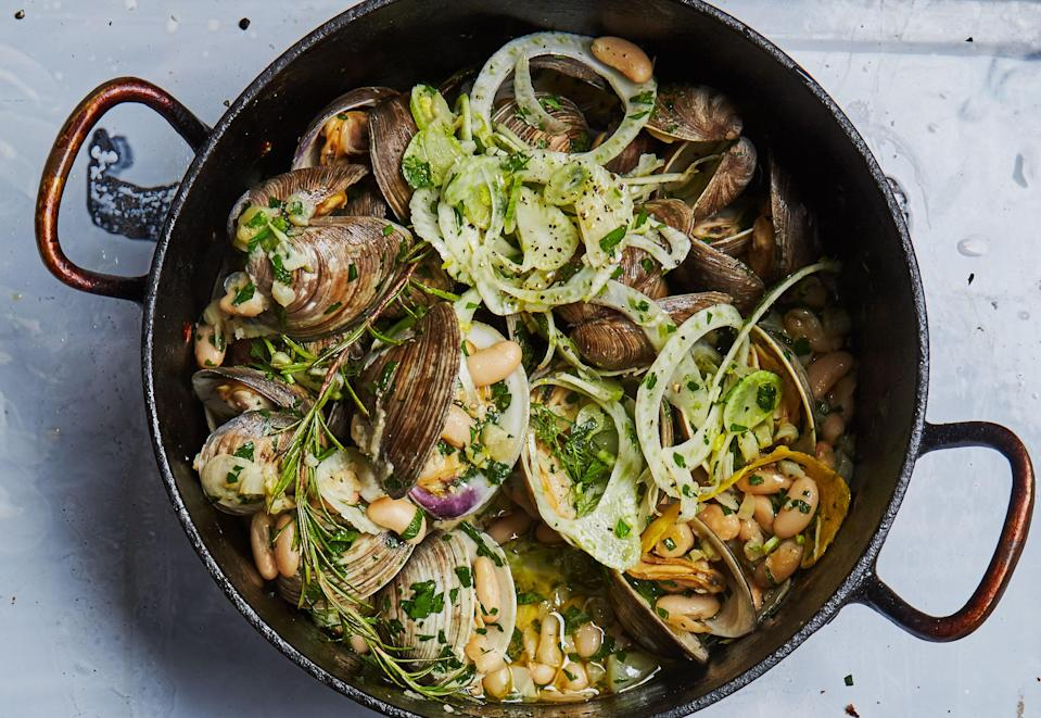 """No need to prep everything ahead: Get your chopping in while the fennel cooks. Just keep an eye on the pot! <a href=""""https://www.bonappetit.com/recipe/clams-in-white-bean-sauce?mbid=synd_yahoo_rss"""" rel=""""nofollow noopener"""" target=""""_blank"""" data-ylk=""""slk:See recipe."""" class=""""link rapid-noclick-resp"""">See recipe.</a>"""