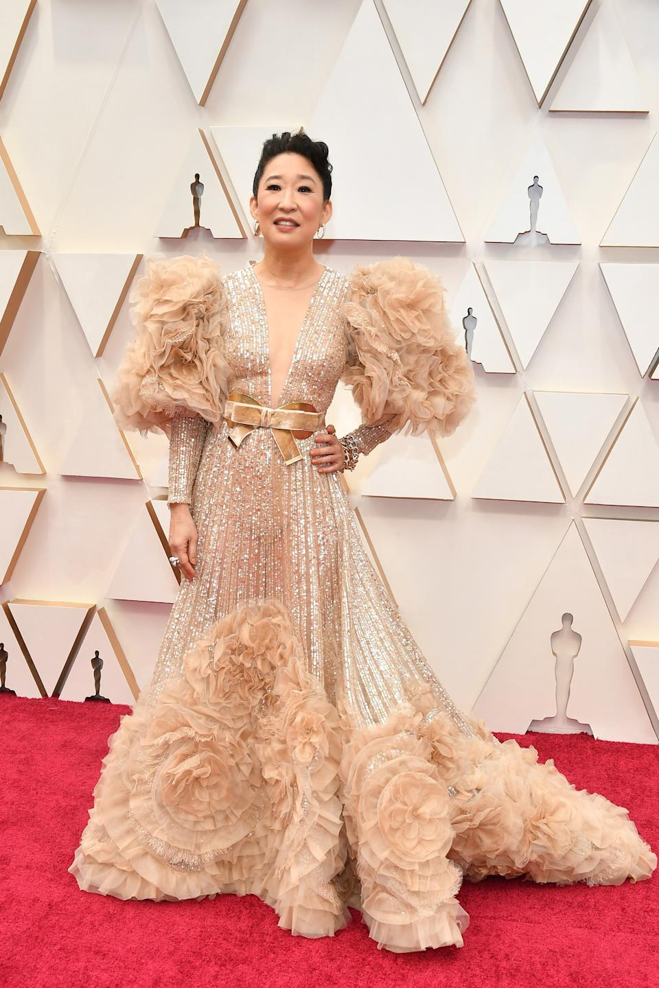 """The Canadian """"Killing Eve"""" star wore a high fashion Elie Saab gown to serve as a presenter at this year's ceremony."""