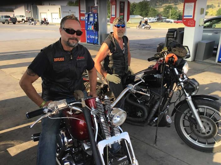 """<div class=""""inline-image__caption""""><p>Carl McCormack, 55, and his buddy Andrew Rick, 54, both of Blackhawk, S.D., look forward to the Rally every year. Neither one is vaccinated.</p></div> <div class=""""inline-image__credit"""">Courtesy Tom Lawrence</div>"""