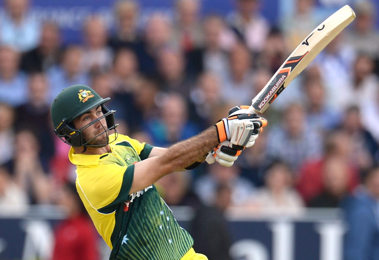 Cricket - England v Australia - Fourth Royal London One Day International - Headingley - 11/9/15 Australia's Glenn Maxwell hits a six  Action Images via Reuters / Philip Brown Livepic