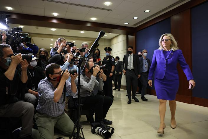 Rep. Liz Cheney, R-Wyo., arrives to speak to the media after she was removed of her leadership role as House Republican Conference chair on Wednesday.