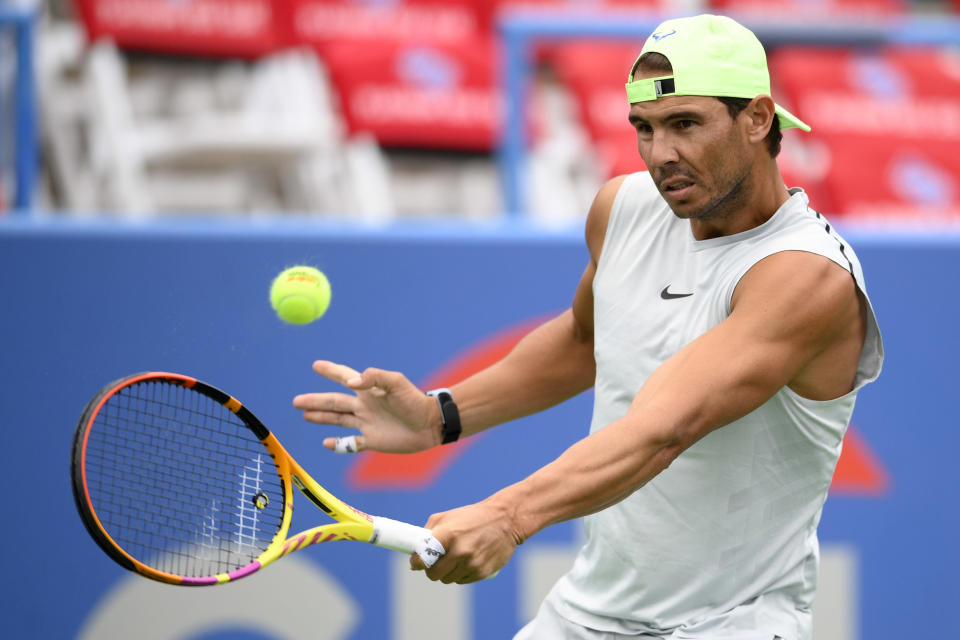 Rafael Nadal, of Spain, practices at the Citi Open tennis tournament, Saturday, July 31, 2021, in Washington. (AP Photo/Nick Wass)