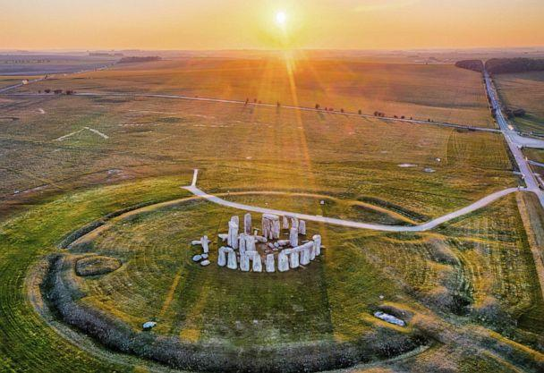PHOTO: The sunset shines upon the Stonehenge monument in Wiltshire, England, March 26, 2020. (Chris Gorman/Getty Images, FILE)