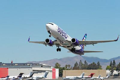 Avelo Airlines takes off with first flight between Burbank and Santa Rosa at Hollywood Burbank Airport on April 28, 2021 in Burbank, California. (Photo by Joe Scarnici/Getty Images for Avelo Air)