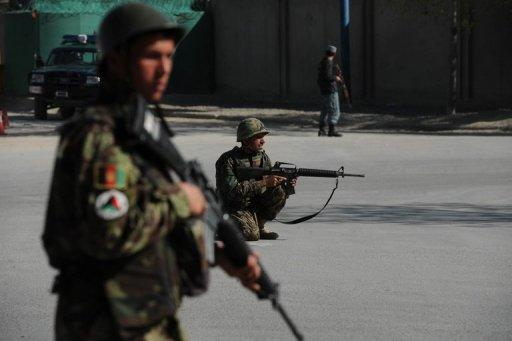 Afghan soldiers patrol the streets of Kabul in April 2012