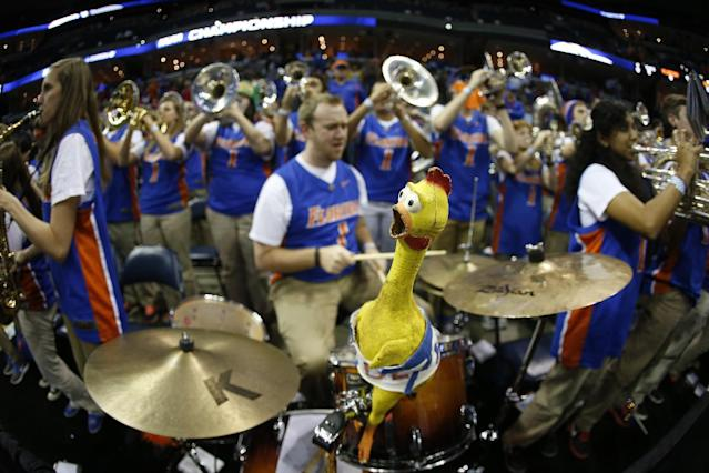 The Florida pep band plays before the first half in a regional semifinal game against UCLA at the NCAA college basketball tournament, Thursday, March 27, 2014, in Memphis, Tenn. (AP Photo/John Bazemore)