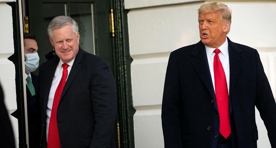 U.S. President Donald Trump departs with White House Chief of Staff Mark Meadows from the White House to travel to North Carolina for an election rally, in Washington, U.S. on October 21.