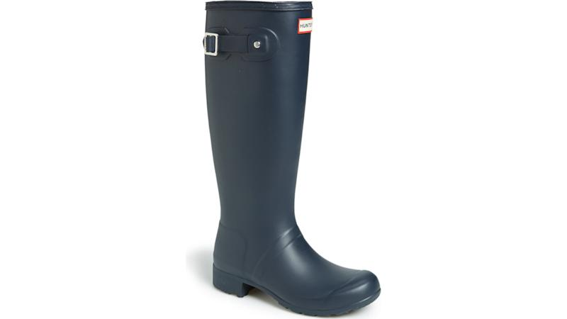 Hunter boots are a rainy day standby.