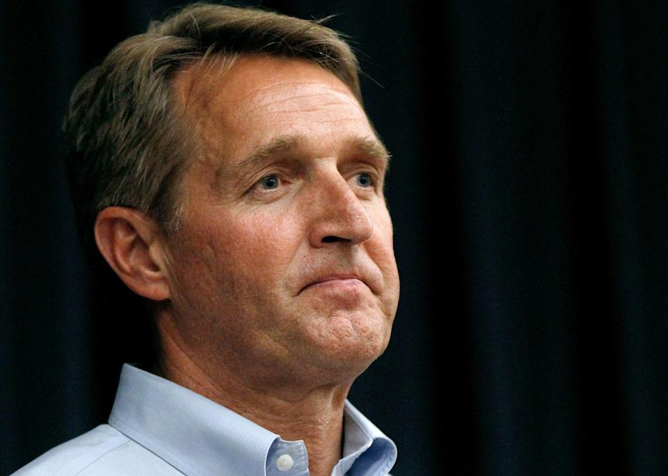 """<p><strong>Former Arizona senator</strong></p> <p>Flake, along with 26 other Republican former members of Congress, announced on Aug. 24 that he was Joe Biden.</p> <p>Flake, a Trump critic before retiring last year, <a href=""""https://www.nbcnews.com/politics/2020-election/jeff-flake-other-former-gop-congressmen-endorse-biden-ahead-rnc-n1237826"""" rel=""""nofollow noopener"""" target=""""_blank"""" data-ylk=""""slk:explained his endorsement"""" class=""""link rapid-noclick-resp"""">explained his endorsement</a>, saying, """"Given what we have experienced over the past four years, it's not enough just to register our disapproval of the president.""""</p> <p>""""We need to elect someone else in his place — someone who will stop the chaos and reverse the damage,"""" he said.</p> <p>Flake added, """"It is because of my conservatism, and because of my belief in the Constitution and the separation of power, and because I am gravely concerned about the conduct and behavior of our current president, that I stand here today, proudly and wholeheartedly, to endorse Joe Biden as the next president of the United States of America."""" </p>"""