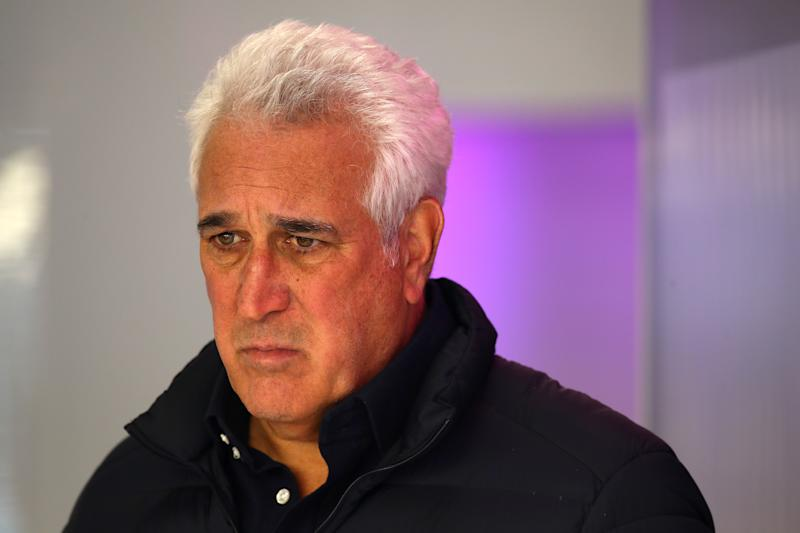 BARCELONA, SPAIN - FEBRUARY 19: Owner of Racing Point Lawrence Stroll looks on from the garage during day one of Formula 1 Winter Testing at Circuit de Barcelona-Catalunya on February 19, 2020 in Barcelona, Spain. (Photo by Mark Thompson/Getty Images)