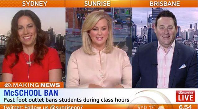 The Sunrise Hot Topics panel disagreed whether McDonald's should get involved. Source: Sunrise