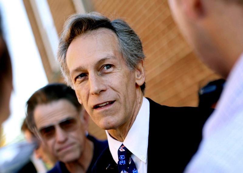FILE - In this Nov. 7, 2008, file photo, former Va. Rep. Virgil Goode speaks to reporters in Rocky Mount, Va. Third-party candidates Gary Johnson and Virgil Goode have little money. They won't be on the presidential debate stage or muster a television ad presence. Each barely registers in state-by-state polls _ when survey takers bother to list them as options. Yet in a race between Democratic President Barack Obama and Republican challenger Mitt Romney that is likely to be won or lost at the margins, even blips can be a big deal. (AP Photo/The Roanoke Times, Sam Dean, File)