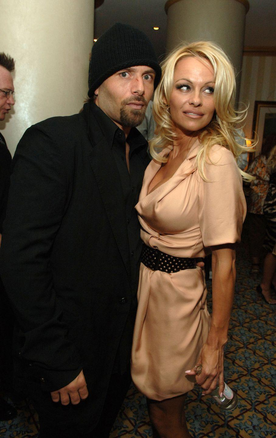 """<p>Pamela Anderson wed her longtime friend, Rick Salomon, in Las Vegas in October 2007. It was the <em>Baywatch </em>star's third marriage, but it didn't last long, as she <a href=""""https://www.latimes.com/entertainment/gossip/la-et-mg-pamela-anderson-rick-salomon-divorce-20150429-story.html"""" rel=""""nofollow noopener"""" target=""""_blank"""" data-ylk=""""slk:petitioned for an annulment"""" class=""""link rapid-noclick-resp"""">petitioned for an annulment</a> two months later. The couple's marriage was annulled in 2008 and Pamela reunited with her <em>other </em>ex-husband, Tommy Lee, shortly after. Ready for a curveball? In 2014, Pamela and Rick shocked everyone when they announced they'd secretly tied the knot for the second time. Their union <a href=""""https://www.hellomagazine.com/celebrities/2014070919818/pamela-anderson-divorce-rick-salmon-second-time/"""" rel=""""nofollow noopener"""" target=""""_blank"""" data-ylk=""""slk:lasted six months"""" class=""""link rapid-noclick-resp"""">lasted six months</a> this time.</p>"""