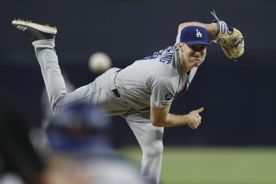 Los Angeles Dodgers starting pitcher Ross Stripling works against a San Diego Padres batter during the first inning of a baseball game Wednesday, Sept. 25, 2019, in San Diego. (AP Photo/Gregory Bull)