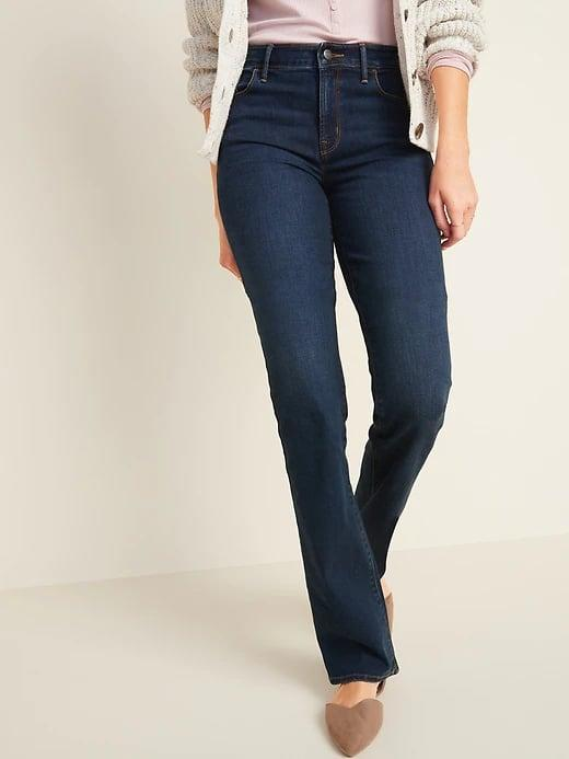 <p>Of course, these classic <span>Old Navy Mid-Rise Dark-Wash Kicker Boot-Cut Jeans for Women</span> ($35) look great paired with your favorite boots, but they look equally good with flats, too.</p>
