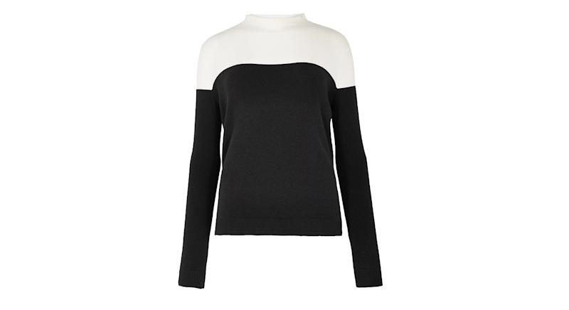 Soft Touch Colour Block Funnel Neck Jumper