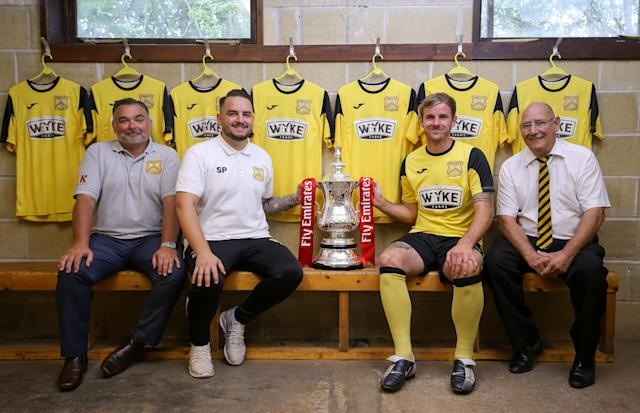 Cheese room: Cheddar chairman Matt Postins, manager Shaun Potter, captain Craig Mawford and president Donald White