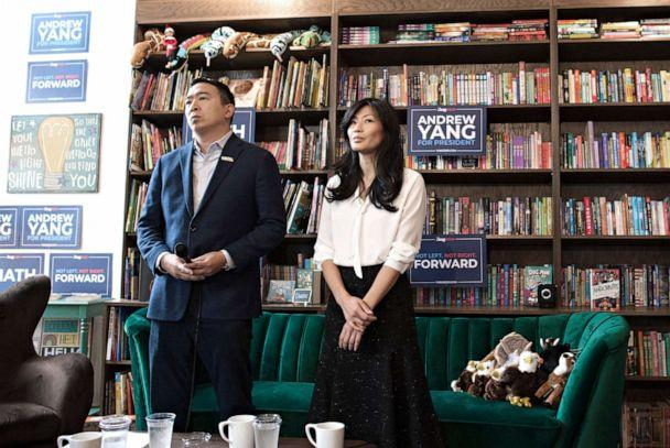 PHOTO: Democratic presidential candidate Andrew Yang and his wife Evelyn campaign at the Sidekick Coffee house in Iowa City, Iowa, Dec. 14, 2019. (Jeff Topping/Polaris, FILE)