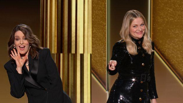 Pictured in this screengrab released on February 28, Co-hosts Tina Fey and Amy Poehler speak onstage at the 78th Annual Golden Globe Awards. (Photo: NBC via Getty Images)