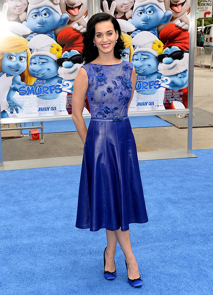 "WESTWOOD, CA - JULY 28:  Actress/Singer Katy Perry attends the premiere of Columbia Pictures' ""Smurfs 2"" at Regency Village Theatre on July 28, 2013 in Westwood, California.  (Photo by Jason Merritt/Getty Images)"