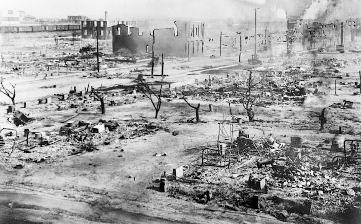 The aftermath of the Tulsa Race Massacre, during which mobs of white residents attacked black residents and businesses of the Greenwood District in Tulsa, Oklahoma, on June 1921.