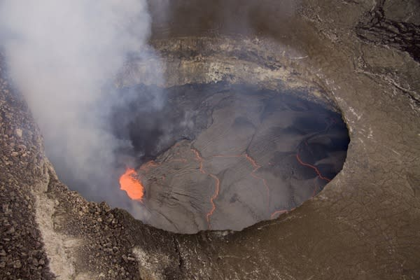 The lava lake inside Halema'uma'u crater, at the top of Mount Kilauea in Hawaii, is at its highest level since 2008.