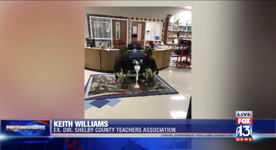 The scene of the mock funeral at Getwell Elementary School. (Screenshot: Fox 13)