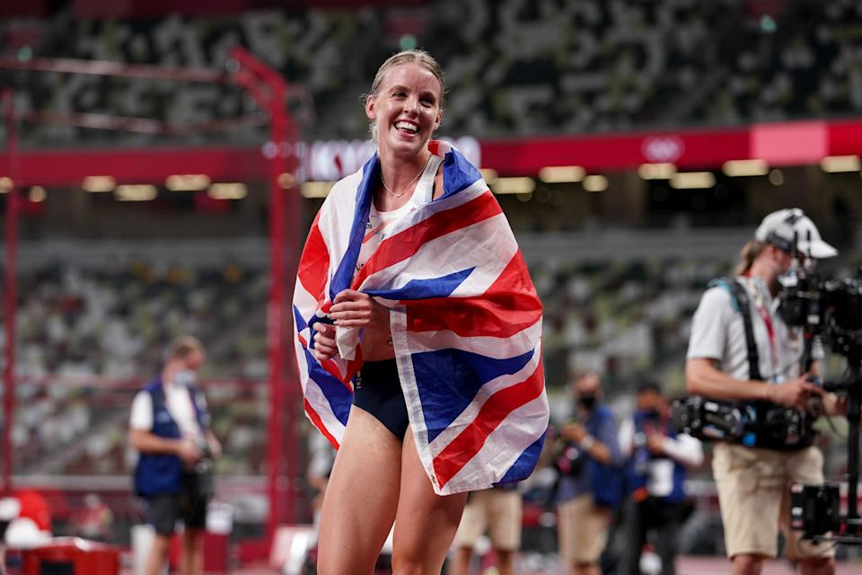 Keely Hodgkinson celebrates her silver medal in the women's 800m, Team GB's first of the Games on the track (Martin Rickett/PA Images). (PA Wire)
