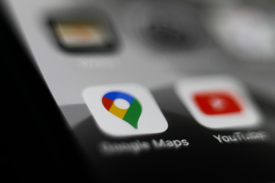 Google Maps logo is seen displayed on smartphone in this illustration photo taken Krakow, Poland on March 10, 2020. (Photo by Jakub Porzycki/NurPhoto via Getty Images)