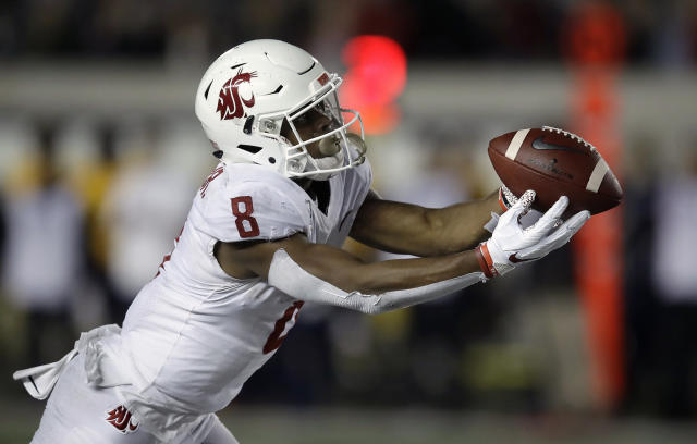 Washington State's Easop Winston Jr. makes a pass reception against California in the second half of an NCAA college football game Saturday, Nov. 9, 2019, in Berkeley, Calif. (AP Photo/Ben Margot)