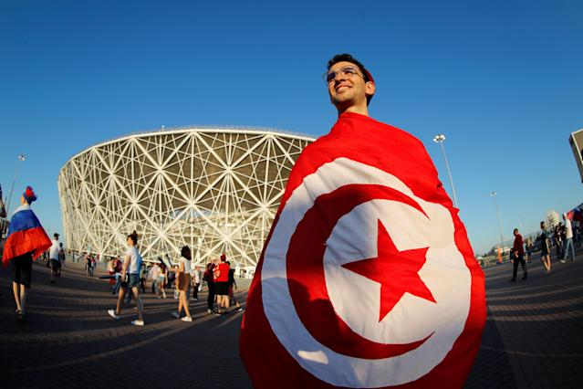 Soccer Football - World Cup - Group G - Tunisia vs England - Volgograd Arena, Volgograd, Russia - June 18, 2018 A Tunisia fan outside the stadium REUTERS/Jorge Silva