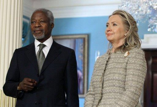 Kofi Annan holds talks with Hillary Clinton in Washington