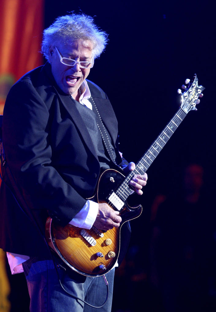 "FILE - In this Aug. 15, 2009, file photo, Leslie West of Mountain performs during the Heroes of Woodstock concert at Bethel Woods Center for the Arts in Bethel, N.Y., marking the 40th anniversary of the original 1969 Woodstock concert. West, an iconic guitarist-vocalist who was behind several 70s rock anthems including ""Mississippi Queen"" with the popular band Mountain, died Wednesday, Dec. 23, 2020, in Palm Coast, Fla. He was 75. (AP Photo/Craig Ruttle, File)"