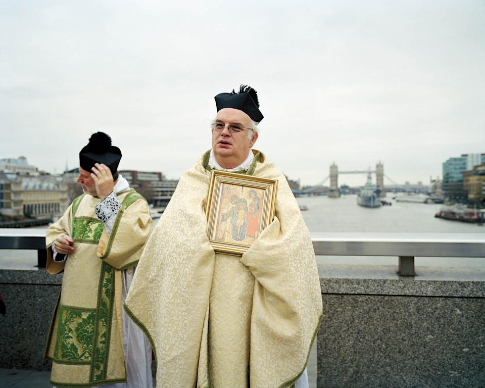"Blessing of the river 08/01/2012, 1.30pm London Bridge approx. 120 annual 51°30'29.1""N 0°05'15.3""W overcast© Chloe Dewe Mathews 2021, courtesy Loose Joints"