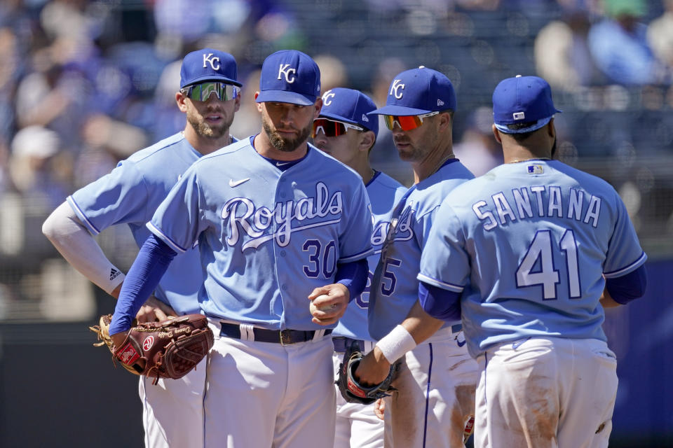 Kansas City Royals starting pitcher Danny Duffy waits to come out of a baseball game during the sixth inning against the Cleveland Indians, Thursday, May 6, 2021, in Kansas City, Mo. (AP Photo/Charlie Riedel)
