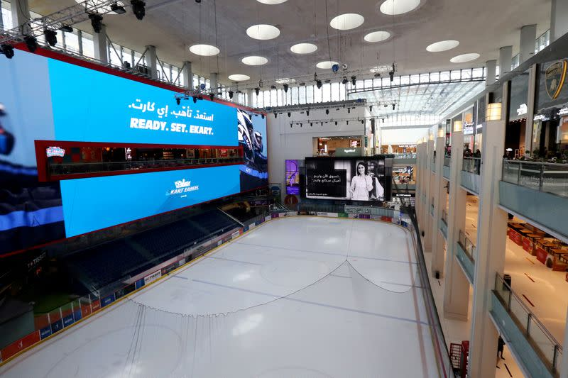 FILE PHOTO: The Ice Rink at the Dubai mall is seen empty as per Dubai authority decision, following the outbreak of coronavirus, in Dubai