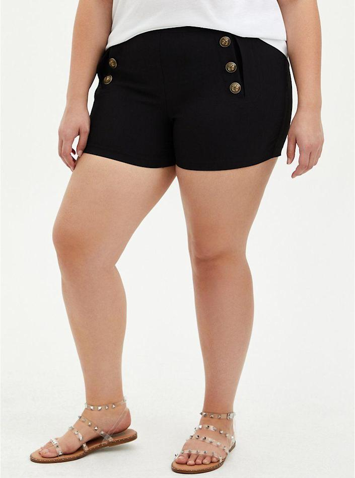 """<p>torrid.com</p><p><strong>$37.12</strong></p><p><a href=""""https://go.redirectingat.com?id=74968X1596630&url=https%3A%2F%2Fwww.torrid.com%2Fproduct%2Fblack-button-high-rise-short%2F12784386.html&sref=https%3A%2F%2Fwww.thepioneerwoman.com%2Ffashion-style%2Fg37083925%2Fbest-plus-size-shorts%2F"""" rel=""""nofollow noopener"""" target=""""_blank"""" data-ylk=""""slk:Shop Now"""" class=""""link rapid-noclick-resp"""">Shop Now</a></p><p>These high rise shorts will have you saying """"aye-aye, captain""""! The button details give off major nautical vibes, even if you can't make it out to the water. </p>"""