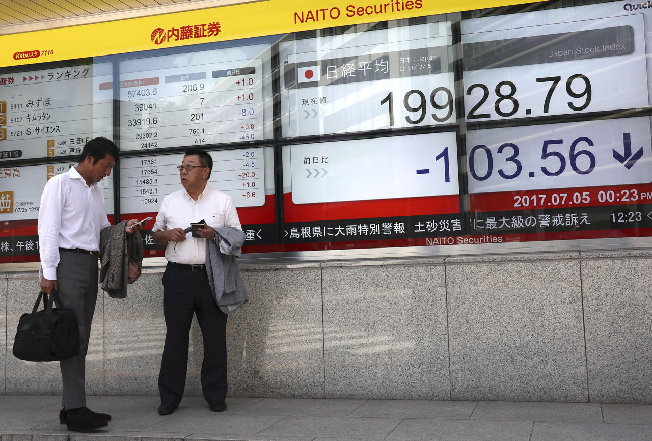 <p>A man uses a mobile phone in front of an electronic stock indicator of a securities firm in Tokyo, Wednesday, July 5, 2017. Asian shares were muted Wednesday as the geopolitical fallout from North Korea's long-range missile launch weighed on investor sentiment amid trading thinned by the U.S. Independence Day holiday. (Photo: Shizuo Kambayashi/AP) </p>