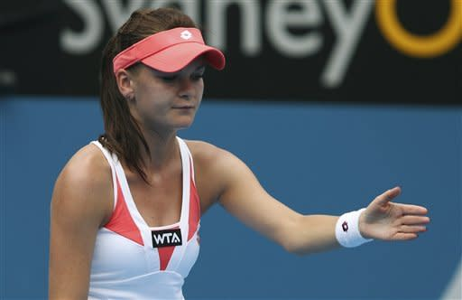 Agnieszka Radwanska of Poland reacts to a line call during her match with Japan's Kimiko Date-Krumm at the Sydney International Tennis tournament in Sydney, Australia, Tuesday, Jan. 8, 2013. (AP Photo/Rob Griffith)