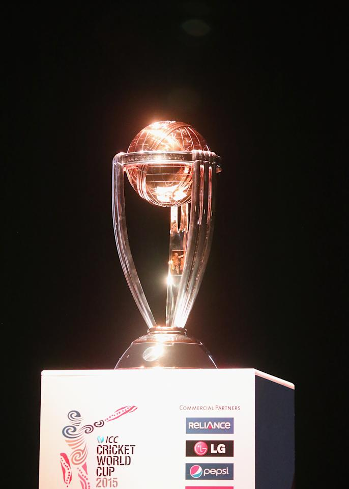 MELBOURNE, AUSTRALIA - JULY 30:  The ICC Cricket World Cup trophy sits on display during the Official Launch of the ICC Cricket World Cup 2015 on July 30, 2013 in Melbourne, Australia.  (Photo by Scott Barbour/Getty Images)